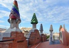 帕劳Guell -屋顶 免版税库存照片