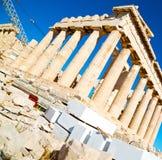 帕台农神庙和历史雅典在希腊老建筑学 免版税库存照片