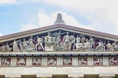 帕台农神庙复制品建筑学细节 免版税库存图片
