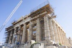 帕台农神庙寺庙的重建在雅典 免版税库存照片