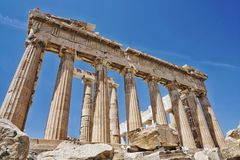 帕台农神庙是在亚典人上城的一个寺庙,在雅典,希腊 免版税库存照片