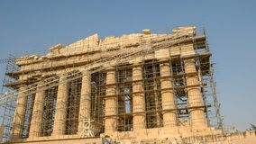 帕台农神庙的前面在雅典,希腊 免版税库存照片