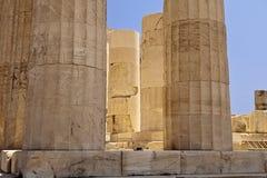 帕台农神庙的发光的柱子 库存照片