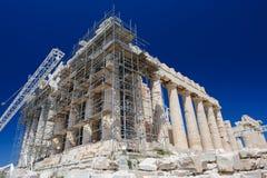 帕台农神庙的重建在上城,雅典,希腊 库存照片