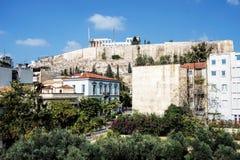 帕台农神庙看法上城小山的,雅典,希腊 图库摄影