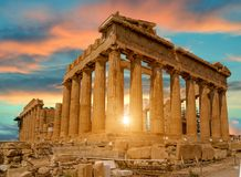 帕台农神庙雅典希腊日落颜色 图库摄影