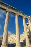 帕台农神庙,在上城的古希腊寺庙细节  Vint 库存照片