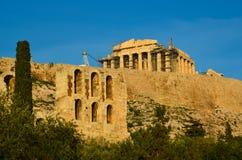 帕台农神庙herodeion雅典希腊 免版税库存照片