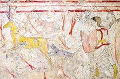 帕埃斯图姆,在战斗的战士坟茔的古老壁画  图库摄影