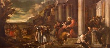 帕多瓦,意大利:传道者的使命Giambattista Bissoni (1631)在教会Basilica di圣诞老人Giust里 库存照片