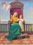 帕多瓦,意大利- 2014年9月9日:圣安和小玛丽绘画教会圣玛丽亚dei的塞尔维由R Maluta 图库摄影