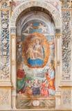 帕多瓦,意大利- 2014年9月9日:有孩子的玛丹娜博尼诺da Campione 14 分 在Eremitani的教会里 免版税库存图片