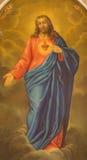 帕多瓦,意大利- 2014年9月8日:耶稣基督油漆的心脏从旁边法坛的在教会圣Benedetto vecchio 图库摄影
