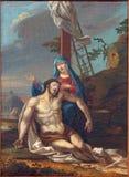 帕多瓦-圣母怜子图场面油漆在教会大教堂里从18的圣玛丽亚Assunta (中央寺院) 分 库存照片
