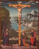 帕多瓦-在十字架上钉死场面在教会基耶萨di圣加埃塔诺和教堂里由未知的画家的在十字架上钉死从第17 免版税库存图片