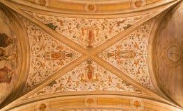 帕多瓦-在教会圣Benedetto vecchio (圣徒本尼迪克特)的天花板壁画从与四位传道者的16世纪 库存照片