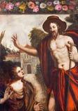 帕多瓦-基督和圣玛丽从良的妓女场面油漆作为花匠的在教会基耶萨di圣加埃塔诺里 免版税库存照片