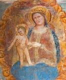 帕多瓦-有孩子的玛丹娜博尼诺da Campione (14 分 ) 在Eremitani (基耶萨degli Eremitani)的教会里 免版税库存图片