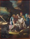 帕多瓦-耶稣场面Burila油漆在教会大教堂里从18的圣玛丽亚Assunta (中央寺院) 分 免版税库存图片