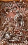 帕多瓦-被雕刻的安心耶稣祷告在Gethsemane庭院里教会基耶萨di圣加埃塔诺圣器收藏室  免版税库存图片