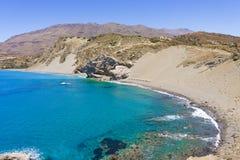 贴水帕夫洛圣保罗Sandhills海滩在克利特海岛,希腊 库存照片