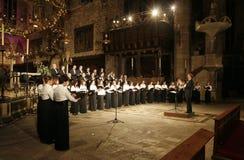 帕尔马大教堂主要法坛合唱 库存照片