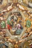 帕尔马,意大利, 2018年:在教会基耶萨二由码头安东尼奥Bernabei的圣玛丽亚degli Angeli天花板的壁画诞生  免版税库存图片