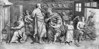 帕尔马,意大利:圣洁家庭和圣Zachariah、伊丽莎白和圣约翰freso教会基耶萨二的三塔Croce浸礼会教友 库存图片