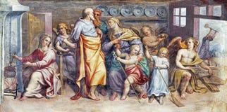 帕尔马,意大利:圣洁家庭和圣Zachariah、伊丽莎白和圣约翰freso教会基耶萨二的三塔Croce浸礼会教友 免版税库存图片