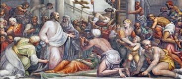帕尔马,意大利- 2018年4月16日:在愈合的壁画耶稣在中央寺院Lattanzio甘巴拉1567 - 1573 免版税库存照片