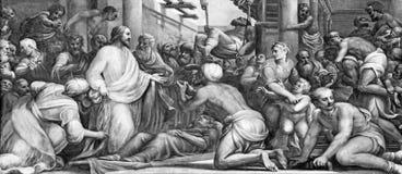 帕尔马,意大利- 2018年4月16日:在愈合的壁画耶稣在中央寺院Lattanzio甘巴拉1567 - 1573 库存图片