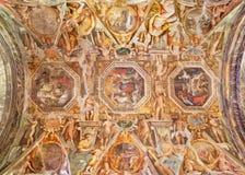 帕尔马,意大利- 2018年4月17日:在教会基耶萨二圣玛丽亚degli Angeli天花板的壁画  免版税图库摄影