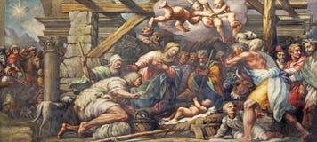 帕尔马,意大利- 2018年4月16日:牧羊人的诞生崇拜壁画在中央寺院Lattanzio甘巴拉1567 - 1573 库存图片