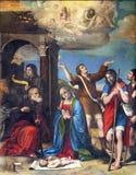 帕尔马,意大利- 2018年4月16日:诞生renaisance绘画在中央寺院贾科莫和朱利奥Francia 1519 库存照片