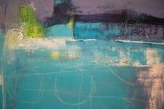 帕尔马,意大利- 2016年10月:抽象绘画艺术:用不同的颜色样式的冲程喜欢紫色,紫罗兰色,绿色和蓝色 免版税库存照片