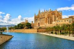 帕尔马,西班牙哥特式中世纪大教堂  库存照片