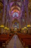 帕尔马,西班牙- 2017年8月18日:帕尔马La Seu圣玛丽亚大教堂内部看法在帕尔马de 库存照片