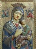帕尔马,西班牙- 2019年1月26日:玛丹娜被雕刻的多彩安心我们的永久帮助的夫人在教会里 库存照片