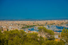 帕尔马,西班牙- 2017年8月18日:市的全景帕尔马,在一个蓝色晴天在帕尔马 免版税图库摄影