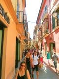 帕尔马,西班牙- 2015年9月07日:帕尔马,巴利阿里群岛中央街道的人们  免版税图库摄影