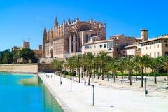 帕尔马,西班牙 La Seu -著名中世纪哥特式加州 库存图片