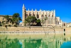 帕尔马,西班牙 La Seu -著名中世纪哥特式加州 免版税库存图片