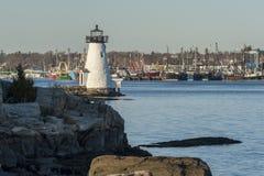帕尔默` s海岛灯塔黄昏视图  免版税库存照片