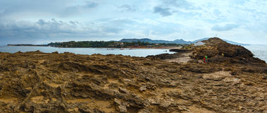 贴水帕帕佐普洛斯海滩(希腊、扎金索斯州,爱奥尼亚海) 免版税库存照片
