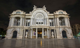 帕拉西奥de贝拉斯阿特斯-艺术宫殿,夜 图库摄影