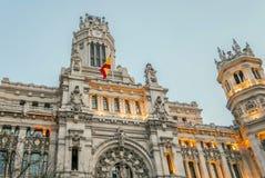 帕拉西奥de Comunicaciones在马德里,西班牙 免版税图库摄影