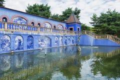 帕拉西奥dos Marquises de Fronteira在里斯本是这个庭院和画廊的启发 免版税库存图片