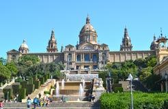 帕拉西奥Nacional,全国宫殿在巴塞罗那 免版税库存图片