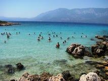 帕特拉海滩, Sedir海岛马尔马里斯港-土耳其 免版税图库摄影