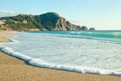 帕特拉海滩(Kleopatra海滩)在阿拉尼亚,土耳其 免版税图库摄影